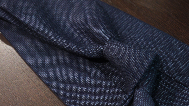 Solid Wool Untipped Tie - Navy Blue