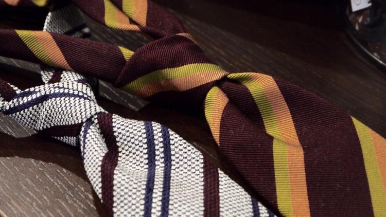 Silk Regimental Untipped - Burgundy/Orange/Mustard