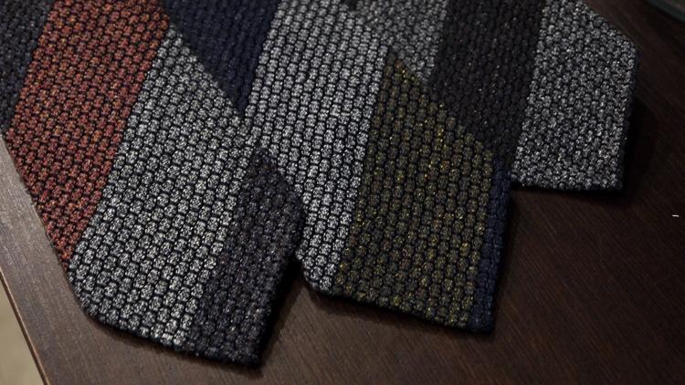 Blockstripe Jacquard Grenadine Tie - Untipped - Brown/Grey