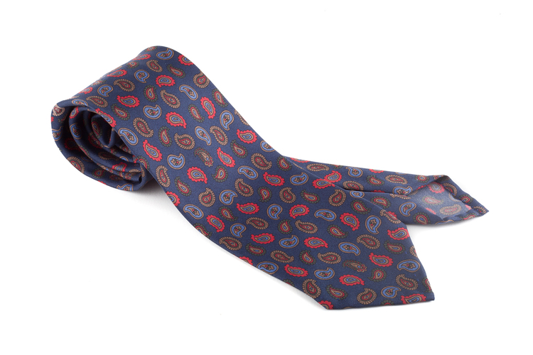 Printed Paisley Untipped - Navy Blue/Red/Light Blue