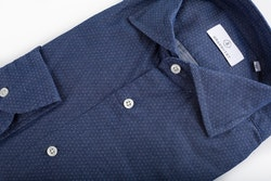 Pin Dot Cotton Shirt - Navy Blue/Light Blue
