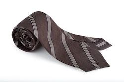 Regimental Textured Silk Tie - Untipped- Brown/White