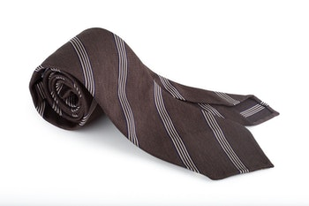 Regimental Textured Silk Tie - Untipped- Brown/White