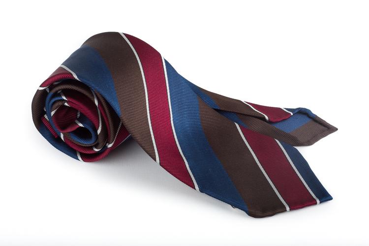 Silk Regimental Untipped - Burgundy/Brown/Blue/White