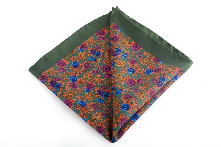 Floral Vintage Silk Pocket Square - Green/Orange/Blue/Purple