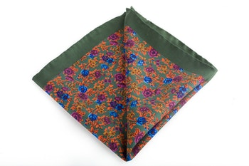 Floral Vintage Silk Pocket Square - Green/Orange/Blue/Purple