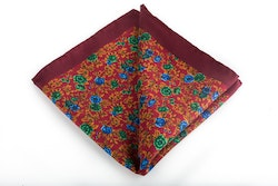 Floral Vintage Silk Pocket Square - Burgundy/Blue/Green/Orange