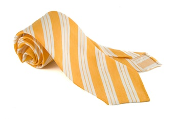 Linen Silk Regimental Untipped - Orange/White