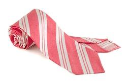 Linen Silk Regimental Untipped - Red/White