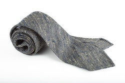 Solid Shantung Grenadine Tie - Untipped - Navy Blue/Beige
