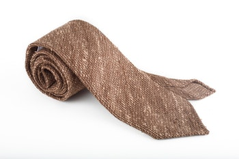 Solid Shantung Grenadine Tie - Untipped - Brown/Beige