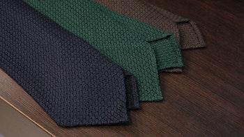 Solid Silk Grenadine Grossa Tie - Untipped - Navy Blue