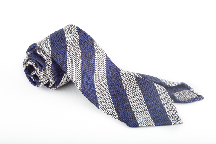Regimental Silk Grenadine Tie - Untipped - Navy Blue/Light Grey