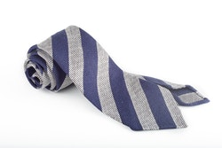Regimental Silk Grenadine Tie - Untipped - Navy Blue/Light Grey