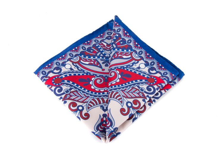 Silk Fiori - Navy Blue/Orange/White