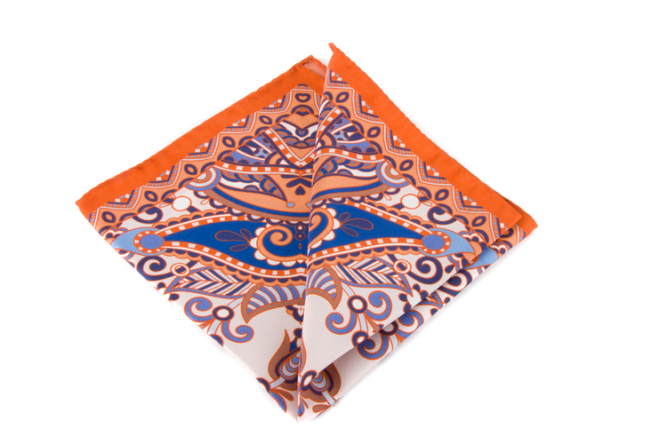 Silk Fiori - Orange/Navy Blue/Light Blue/White
