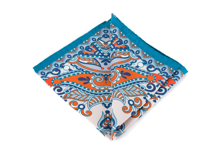 Silk Fiori - Turquoise/Orange/White