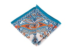 Silk Fiori - Turquoise/Orange/White