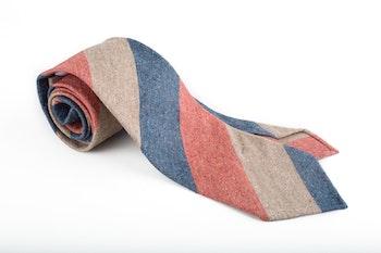 Cotton/Silk Regimental Untipped - Beige/Navy/Rust