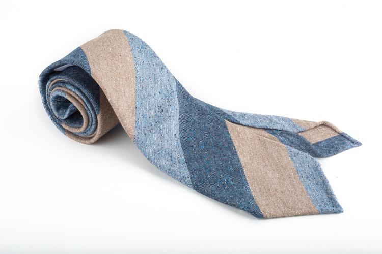 Cotton/Silk Regimental Untipped - Beige/Navy/Blue