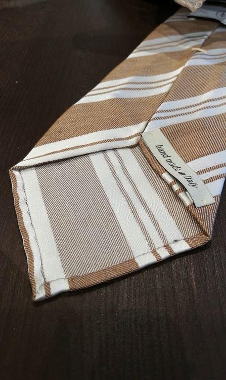 Linen Silk Regimental Untipped - Beige/White