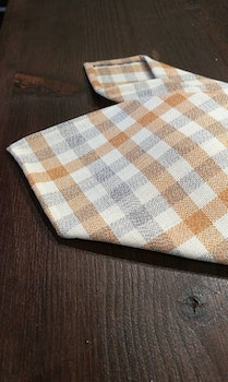 Plaid Wool Untipped Tie - Creme/Grey/Orange