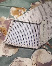 Silk Pindot Untipped - Creme/Blue