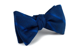 Regimental Grenadine Bow Tie - Navy Blue