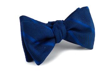 Regimental Grenadine Bow Tie - Navy Blue