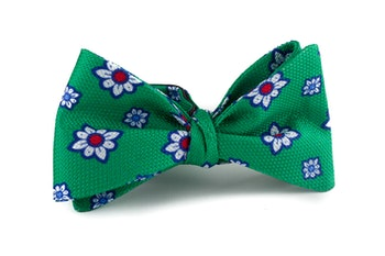 Self tie Silk Floral - Green/White/Navy Blue/Red