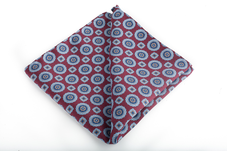 Medallion Silk Pocket Square - Burgundy/Light Blue/Navy Blue