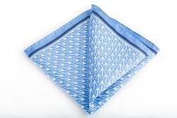 Anchor Silk Pocket Square - Light Blue/Navy Blue/White