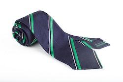 Regimental Silk Grenadine Tie - Untipped - Navy Blue/Green
