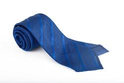 Regimental Silk Grenadine Tie - Untipped - Mid Blue