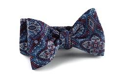 Self tie Silk Medallion - Burgundy/Light Blue