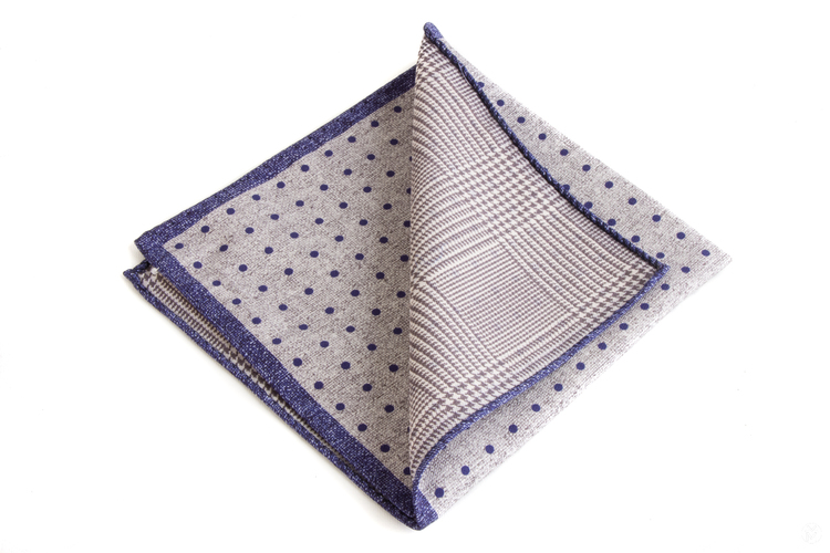 Silk Polka Dot / Plaid Two Faced - Light Grey/Navy Blue