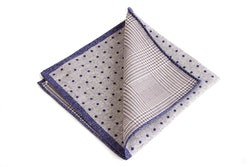 Silk Polka Dot / Plaid Two Faced - Light Grey/Navy Blue