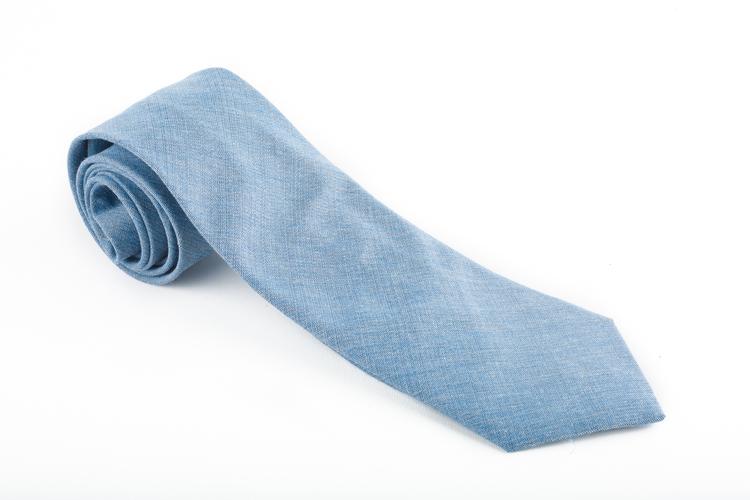 Solid Cotton/Silk Tie - Light Blue