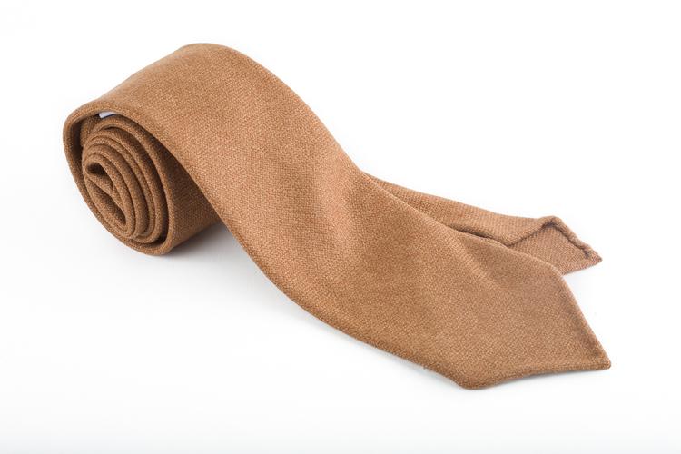 Solid Wool Untipped Tie - Brown