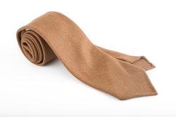 Solid Wool Tie - Untipped - Camel Brown