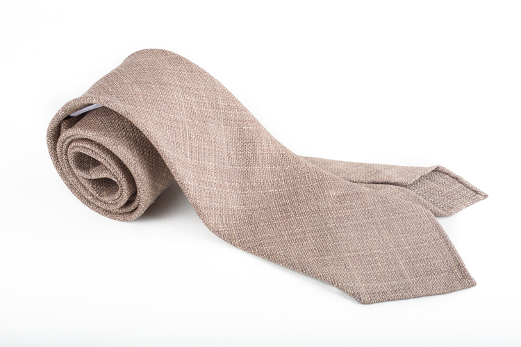 Linen Silk Untipped Plaid - Beige