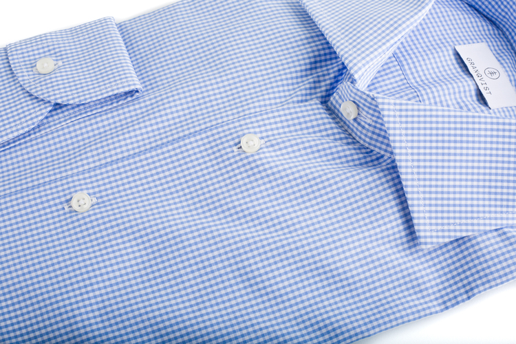 Small Check Poplin Shirt - Light Blue/White
