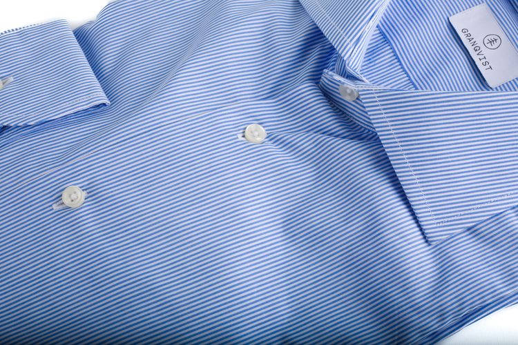 Bengal Stripe Poplin Shirt - Mid Blue/White