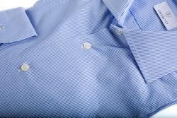 Bengal Stripe Poplin Shirt - Mid Blue/White