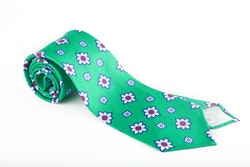 Floral Silk Tie - Green/White/Red