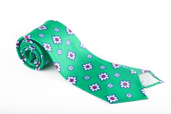 Floral Silk Tie - Green/White/Red