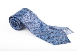 Silk Paisley Untipped - Navy Blue/Light Blue