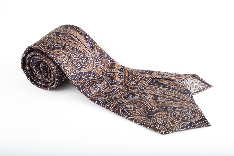 Silk Paisley Untipped - Brown/White