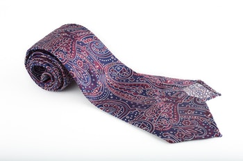 Silk Paisley Untipped - Navy Blue/Burgundy