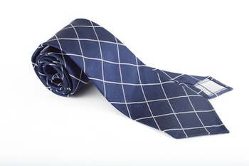 Silk Check Untipped - Navy Blue/White